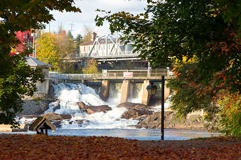 Bracebridge Falls from across the river at the bottom of the falls. There are bright cooured fallen leaves on the ground and above the falls there is the Silver Bridge.