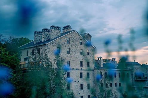 Elora Mill. Tall stone building