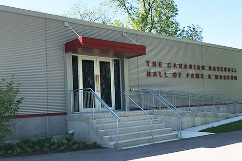 The Canadian Baseball Hall of Fame and Museum, a simple grey building with red accents.