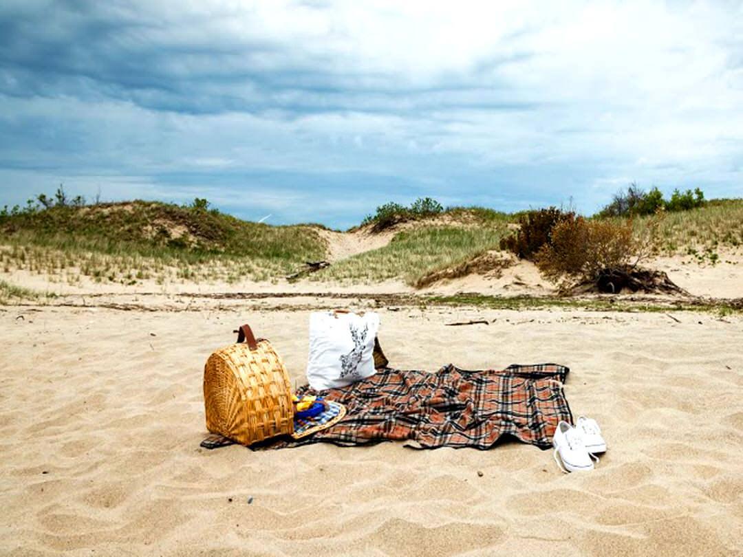 Panier pique-nique sur le rivage sablonneux d'une plage vide