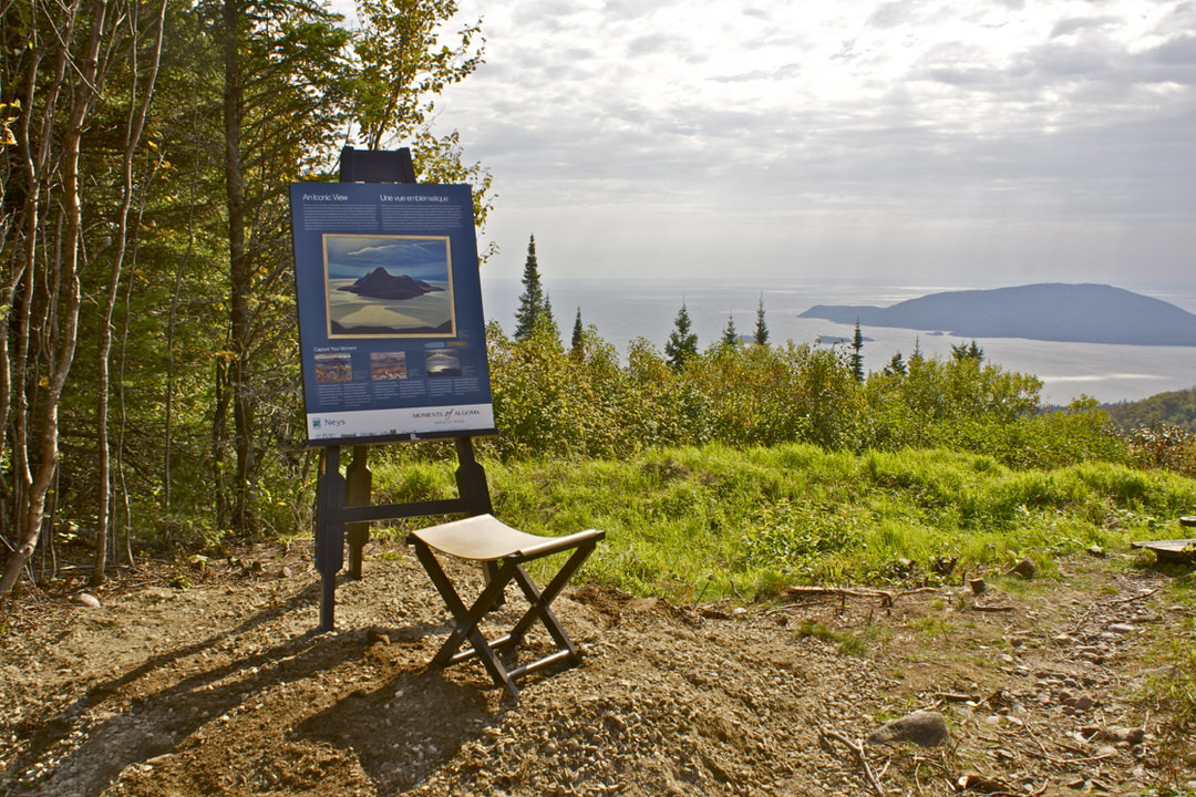 Moments of Algoma interpretive installation on lookout to Pic Island