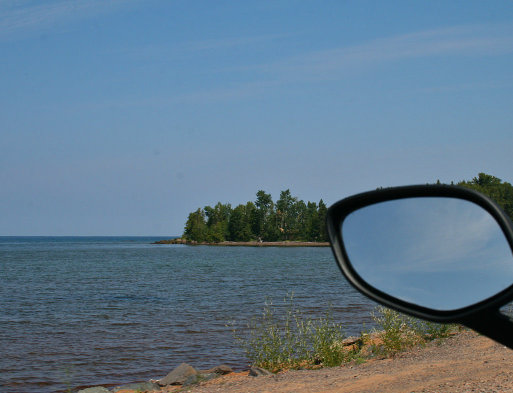 View of the Lake Superior shoreline from a motorcycle