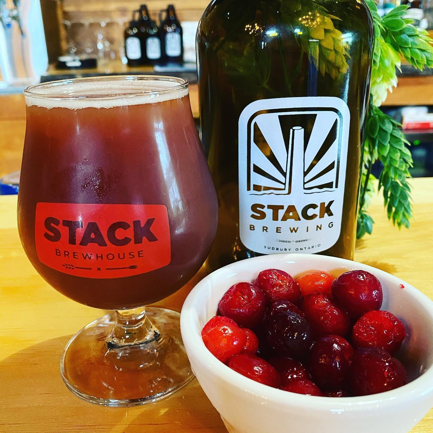 A glass of cranberry beer beside a tall bottle of beer with a small bowl of cranberries