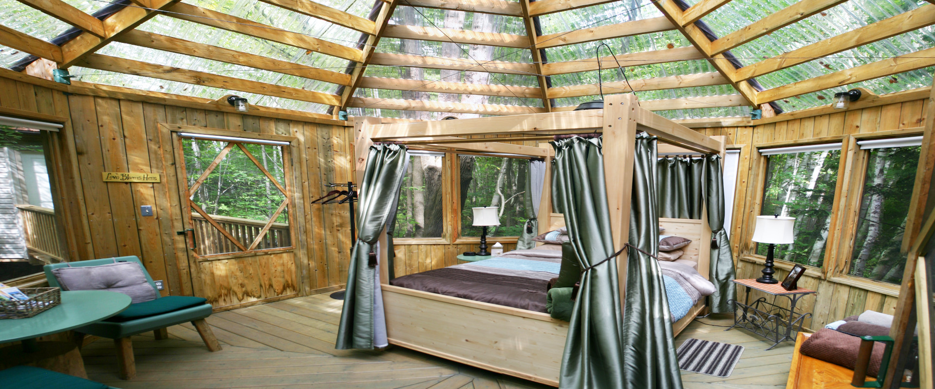 The interior of a glamping bedroom suite
