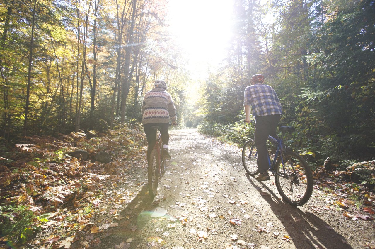 Two people ride bicycles down a country lane surrounded by fall colour