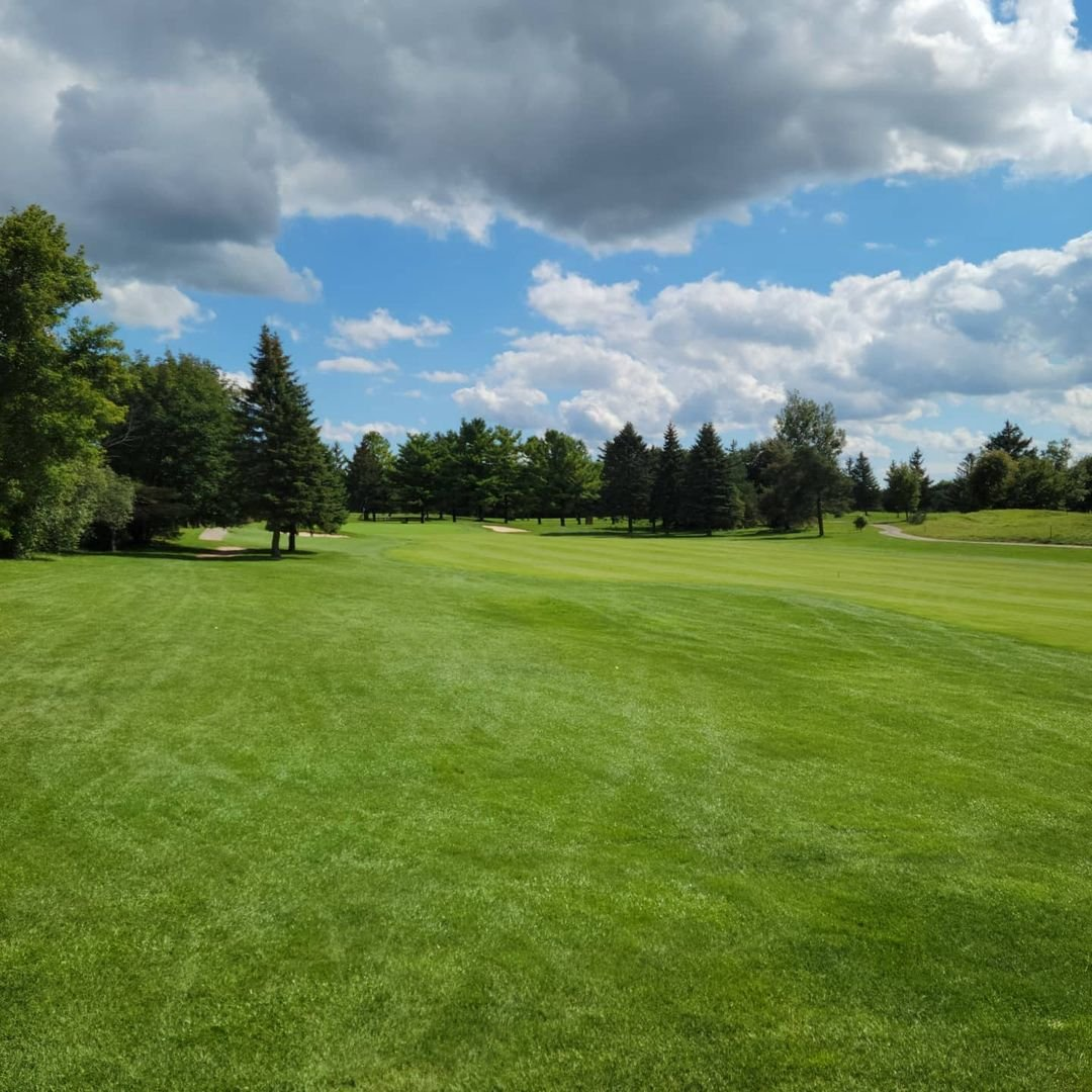 A view of a fairway on a golf course