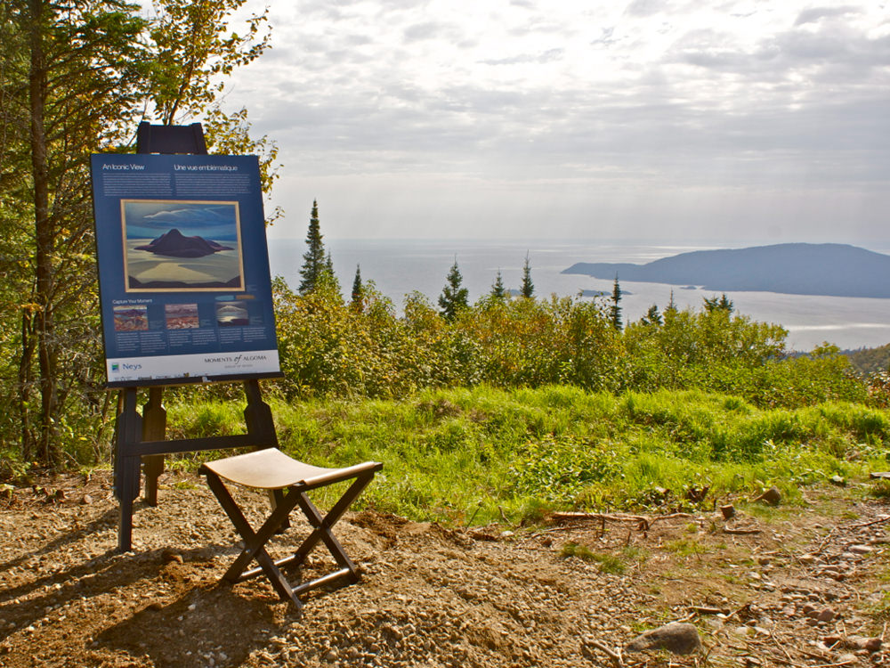 An information sign about the landscape overlooking Pic Island