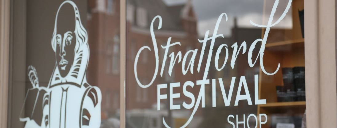 Stratford Festival shop window sign