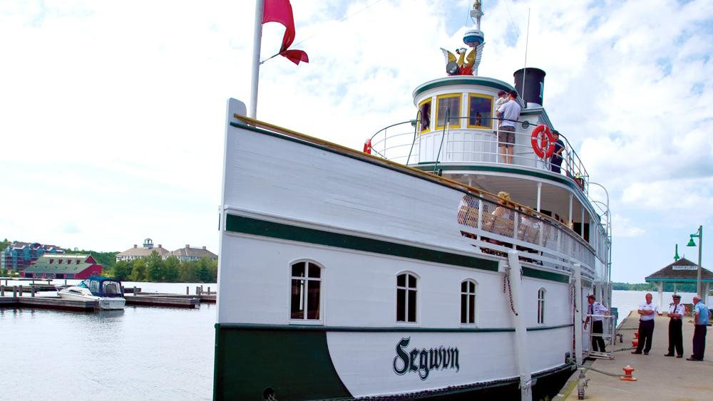 The Royal Mail Ship Segwun is docked at the harbour