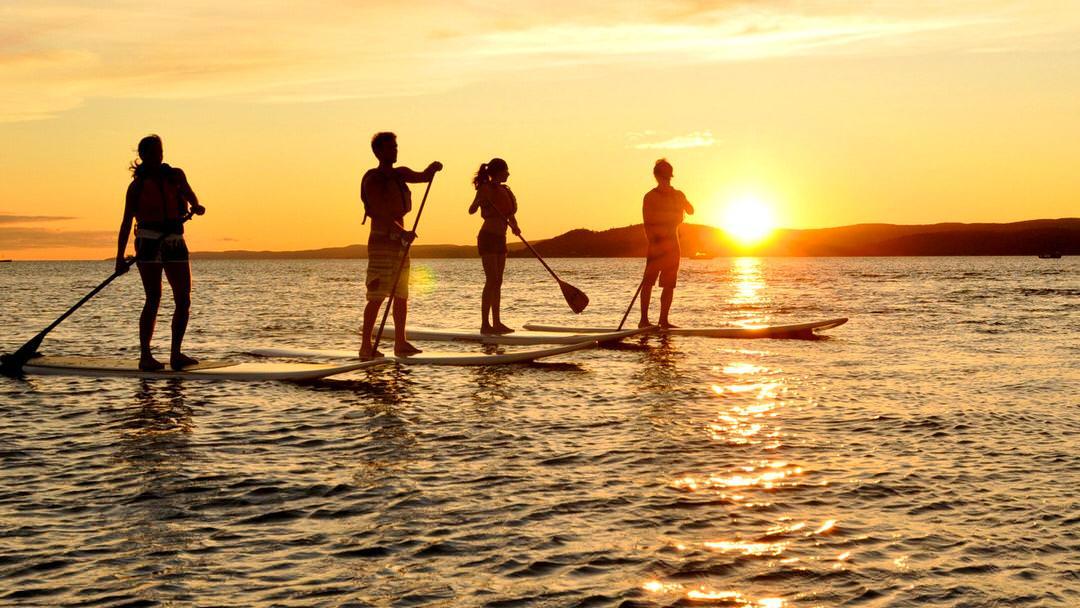 Quatre personnes aiment pagayer debout au coucher du soleil