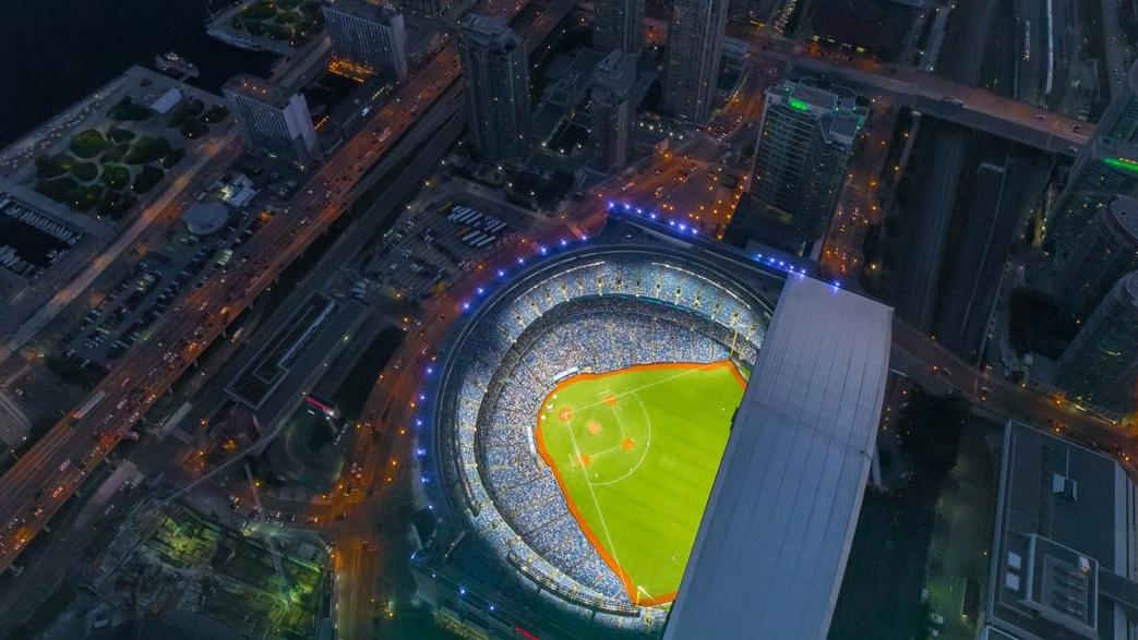 Aerial view of a baseball field in a stadium