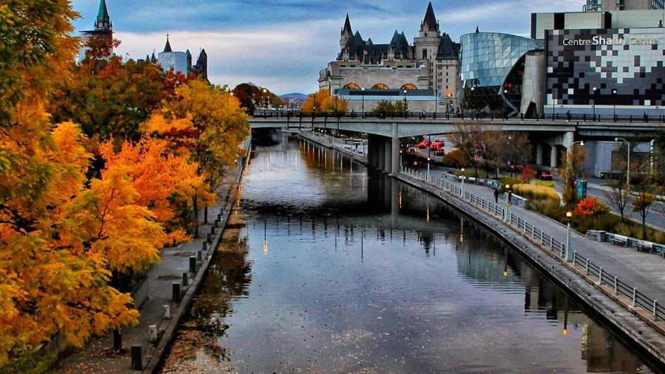 Fall colour along path beside the Rideau Canal