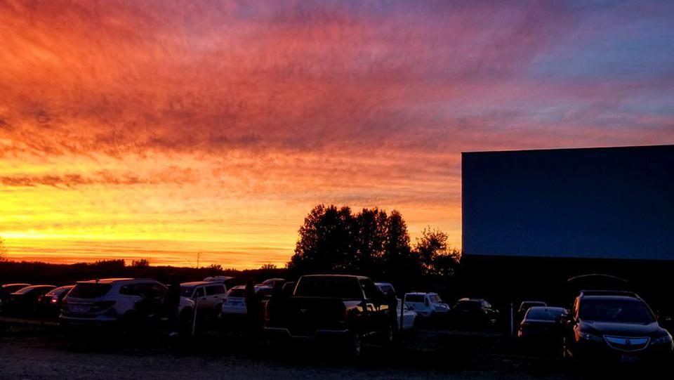 Cars at a drive-in