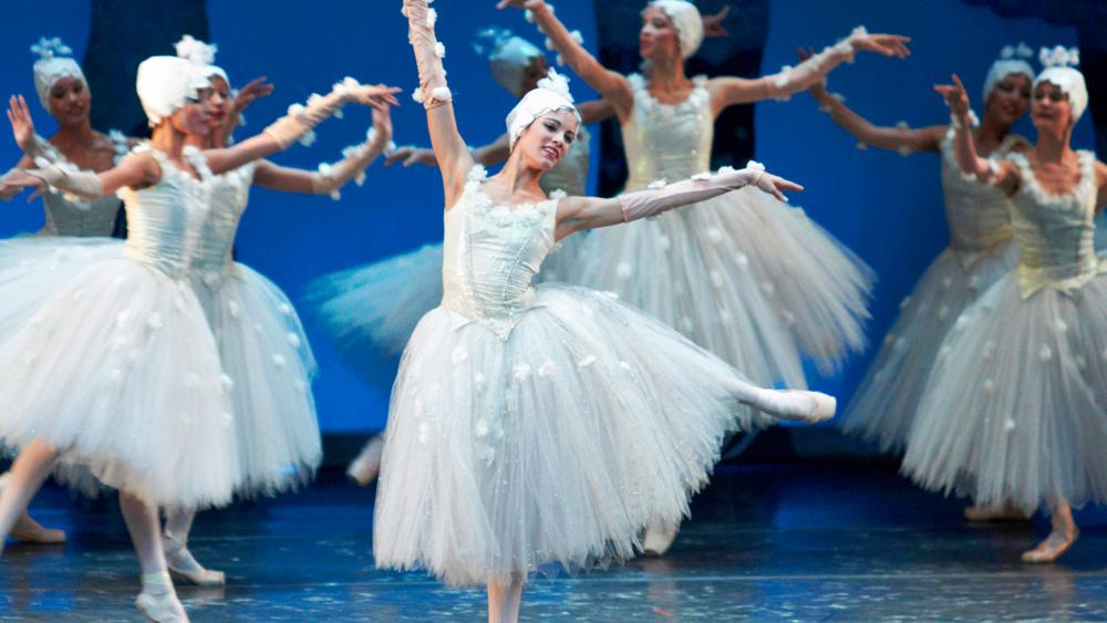 Ballet dancers grace the stage of a well-known ballet production