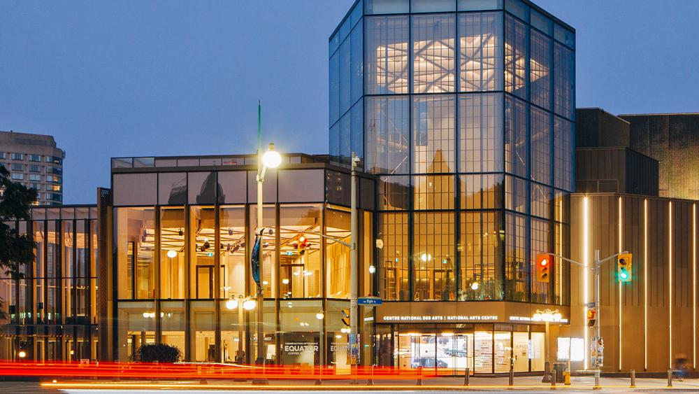 The National Arts Centre in Ottawa lit up at night