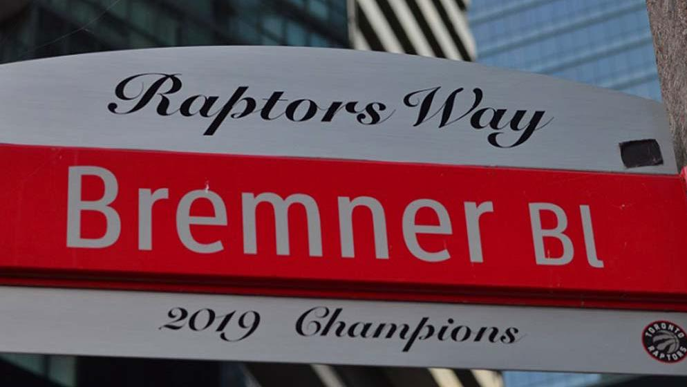 Street sign for Bremner Boulevard, where the Toronto Raptors play home games