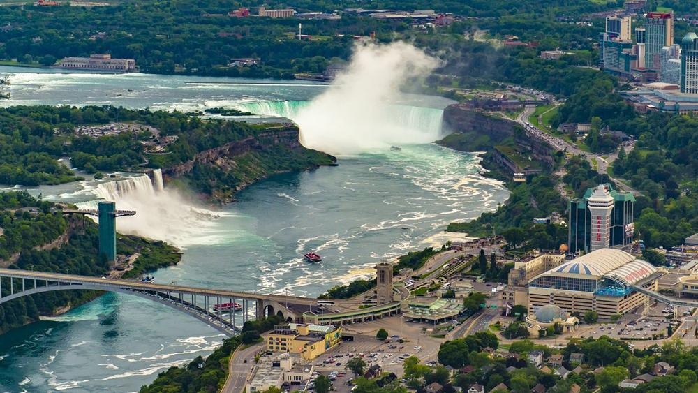 Aerial view of the downtown of Niagara Falls