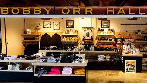 The gift shop at the Bobby Orr Hall Of Fame. Stocked with sweater, jerseys, hats and memorabilia.