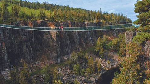 Un couple se tient au milieu d'un pont suspendu sur un grand canyon