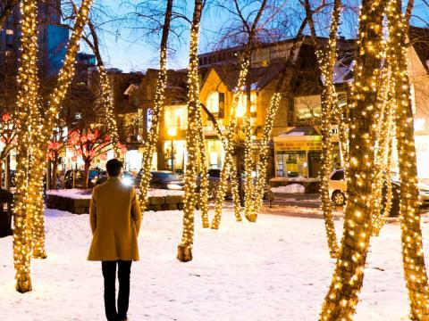 A pedestrian enjoys a stroll through a wintry urban park lit up by christmas lights wrapped around trees.
