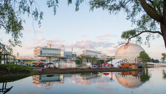 Reflection on lake of Ontario Place buildings
