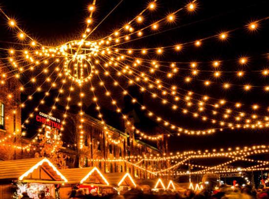 Bright lights at a Christmas market