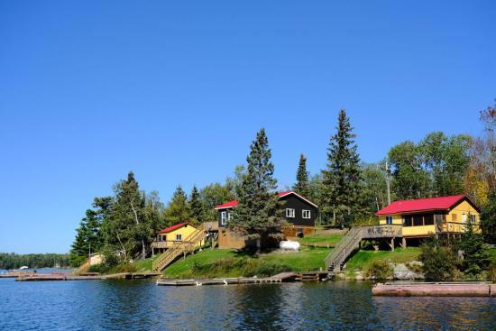A rustic lakeside fishing lodge with cabins near Kenora
