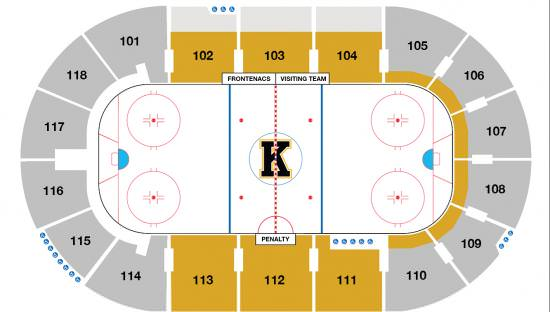 Diagram of indoor arena showing ice with painted lines and surrounding bleachers
