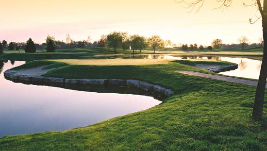 Still-water ponds winding among grass fairways interspersed with small stone areas