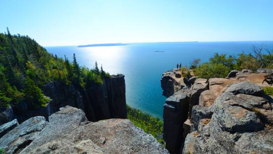View of Lake Superior from atop a Sleeping Giant Provincial Park hiking trail