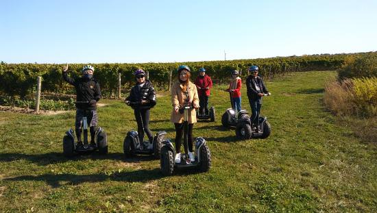 6 smiling people each standing on a Segway wearing a helmet and holding the handlebars while moving across parkland