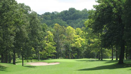 Extensive green golf course lawn with sand trap in front of walkway in foreground and large green forest beyond