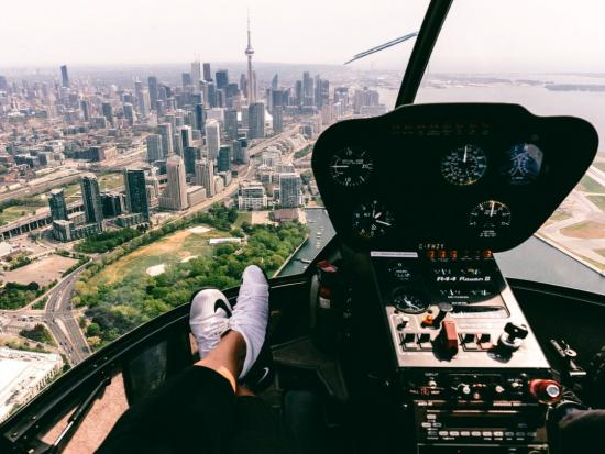View of Toronto's skyline from the cockpit of a helicopter