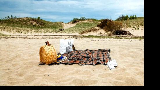 Picnic basket on the sandy shore of an empty beach