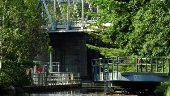 Water flows through a heritage lift lock