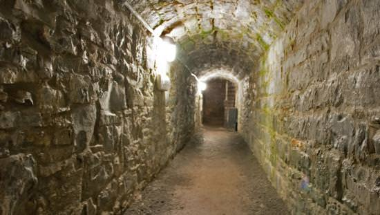 A dark, spooky path leads through an old stone tunnel