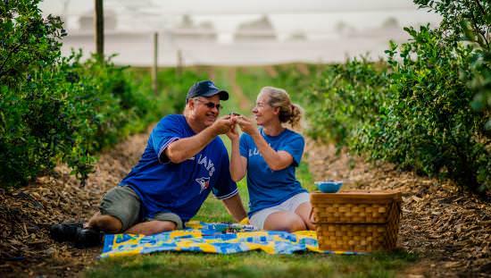 Un couple profitant d'un pique-nique dans une ferme