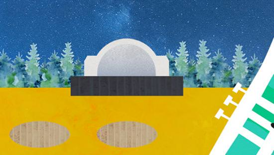 A cartoon of an dome resting on a stage in front of a forest