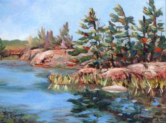 A water painting of trees beside a body of water