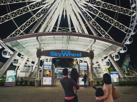 A couple and their two young children stand in front of a Ferris wheel
