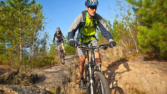 2 mountain bikers riding on rough terrain in between trees.