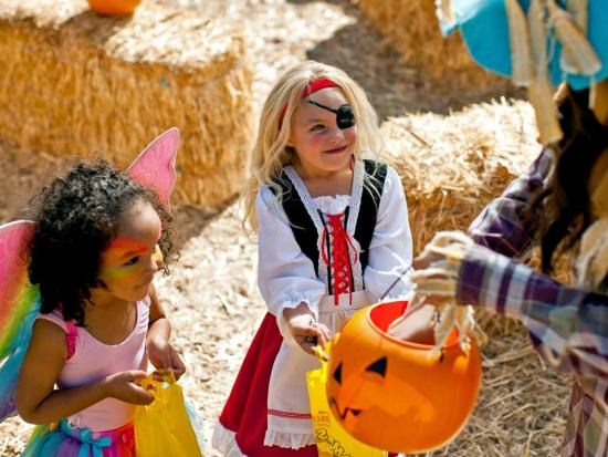 Two young girls dressed up for Halloween receive candy