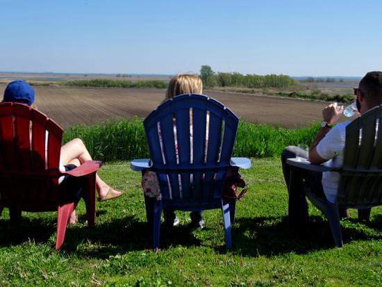 Deux femmes et un homme sont assis sur des chaises colorées de Muskoka et regardent les champs de la ferme pittoresques