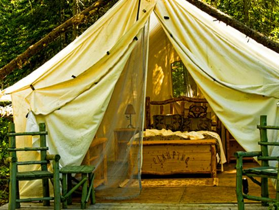 A glamping tent at Wild Exodus