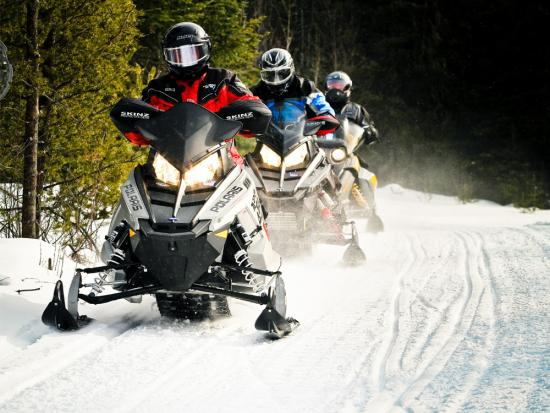 A row of snowmobilers ride over a winter trail