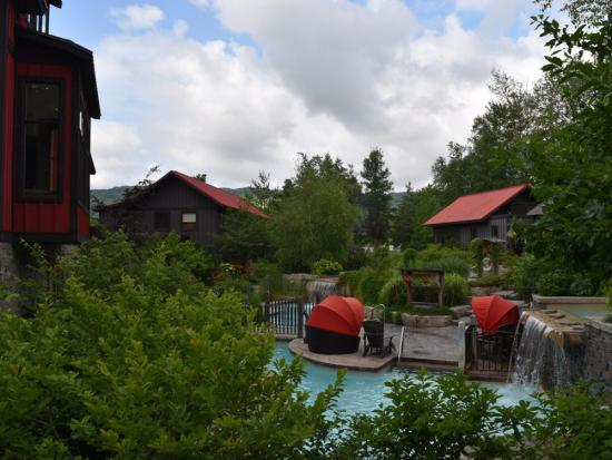 Relaxing poolside at Scandinave Spa Blue Mountain