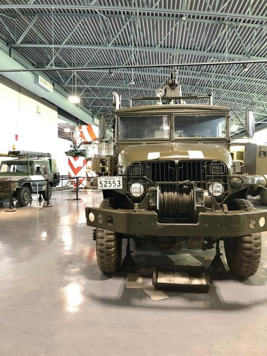 A military vehicle on display at the museum