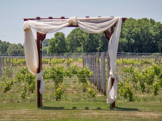 Du tissu blanc orne une pergola devant un vignoble