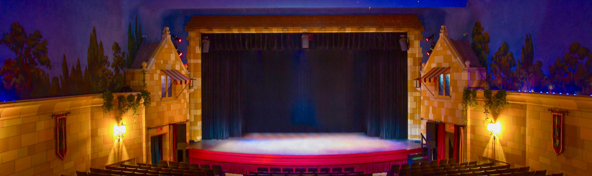Back row view of a dimly lit theatre and stage