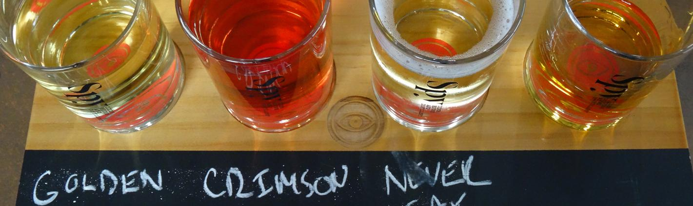 A flight of four different ciders for tasting